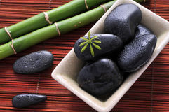 Zen stones and green bamboo. In the water stock images