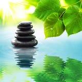 Zen stones & green leaves Stock Photos