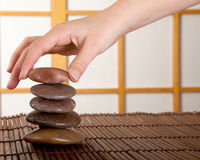 Zen stones in japanese interior Royalty Free Stock Images