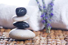 Zen stones with lavender Stock Photos