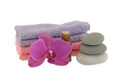 Zen Stones oil and towels Stock Photo