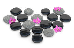 Zen stones with orchid Royalty Free Stock Photo