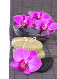 Zen stones and orchid Royalty Free Stock Photos