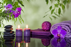 Zen stones orchid and aromatic candles Stock Image