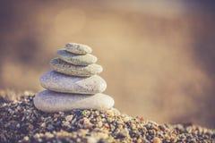 Zen stones on a pebble beach. Zen stones on the beach stock photos