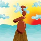 Zen stones at the pier, surrealism. Zen stones at the pier. Style Surrealism. Cartoon. Meditation. Navy Pier Stock Images