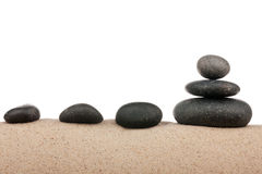 Zen stones pyramid on sand beach, meditation, concentration, relaxation, harmony, balance Royalty Free Stock Photography