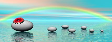 Zen stones and rainbow Royalty Free Stock Photo