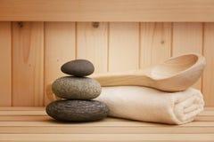 Zen stones , relaation background in sauna Stock Image