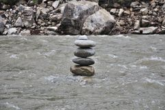 Zen stones in river Royalty Free Stock Image