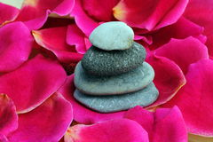 Zen stones on rose petals Stock Photo