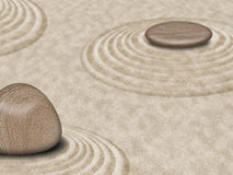 Zen Stones on Sand Garden Circles 2 Stock Image