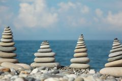 Zen stones by sea Stock Photography
