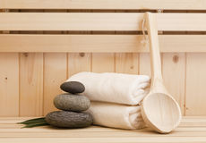 Zen stones and spa  accessores in sauna Stock Photos