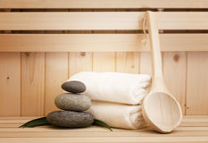 Zen stones and spa  accessores in sauna Stock Image