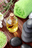 Zen stones and spa oil products Royalty Free Stock Images