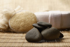 Zen stones and spa set on the wood for treatments Stock Photos