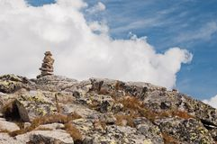 Zen stones stack in high mountains Royalty Free Stock Photo