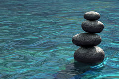 Zen stones stacked on river scene. 3D rendering of moving water with four stacked stones. Relaxing background. Metaphor for mindfulness, balance of life Stock Photography