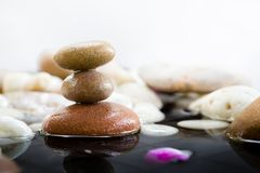 Zen Stones stacked with water reflection. On white background, Zen rocks for meditation royalty free stock images