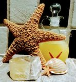 Starfish, Vanilla Bubble Bath and Crystal. Zen stones and starfish creating a peaceful feeling royalty free stock images