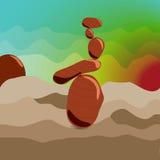 Zen stones at sunrise, surrealism. Zen stones at sunrise. Style Surrealism. Cartoon. Meditation Stock Image