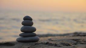 Zen stones at sunset stock video footage