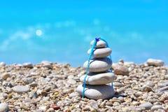 Zen stones on a Turkey beach. Sea pebbles tower. Harmony and stability concept.  stock photo