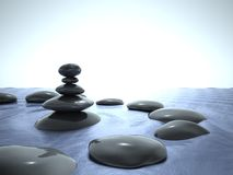 Zen stones in water, blue sky Stock Photos