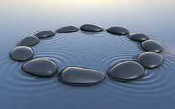 Zen stones on water and circle form. 3d render zen stones on water and circle form (close-up Royalty Free Stock Photography