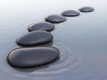 Zen stones on water. 3d render zen stones on water close-up Royalty Free Stock Photography