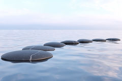 Zen stones in water. With reflection - peace meditation relaxation concept Royalty Free Stock Photography