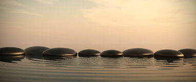 Zen stones in water on sunrise. Zen stones into the water with sunrise on the background Vector Illustration