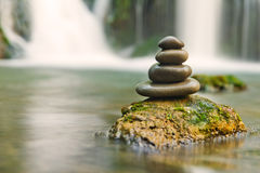 Zen stones and waterfall Royalty Free Stock Photography