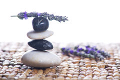 Zen Stones With Lavender Royalty Free Stock Photography
