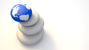 Zen Stones With World Globe Stock Photography