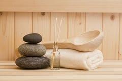 Zen stonesand towels, rela xation background in sauna Stock Photos