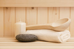 Zen stonesand towels, relaxation background in sauna Royalty Free Stock Images