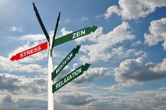 Zen stresu kierunku znaki Obraz Stock