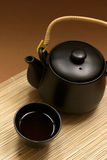Zen Style. Black oriental teapot & cups, more in my gallery Royalty Free Stock Image