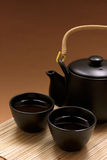 Zen Style. Black oriental teapot & cups, more in my gallery Stock Image