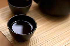 Zen Style. Black oriental teapot & cups, more in my gallery Stock Photography