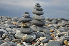 Zen style balance pebble stones. Royalty Free Stock Photography