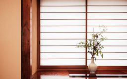 Zen style Japanese flower arrangement known as ikebana in white Stock Photo