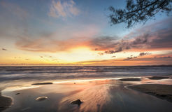 Zen sunset on tropical beach Royalty Free Stock Image