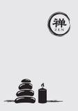 Zen Symbol med buntkiselstenar och illustrationen för Litstearinljusvektor Royaltyfria Bilder