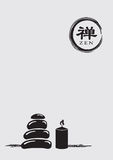 Zen Symbol with Stack Pebbles and Lit Candle Vector Illustration Royalty Free Stock Images