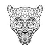 Zen tangle head of jaguar Stock Photography