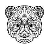 Zen tangle head of panda Stock Image