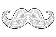 Zen tangle mustache vector. Zentangle whisker. Coloring book. Stock Photography